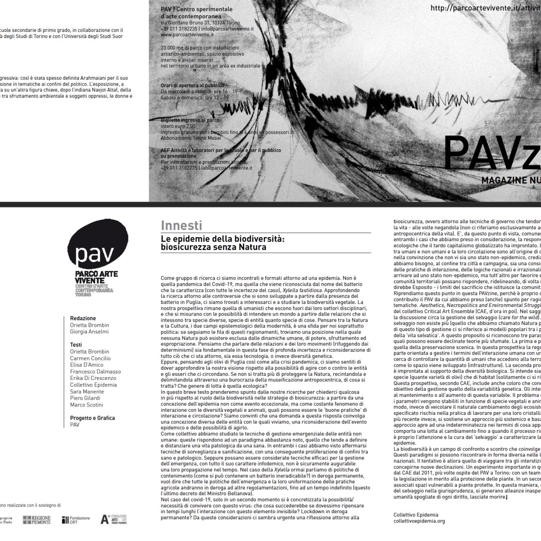 PAVzine 13 – Le epidemie della biodiversità: biosicurezza senza natura